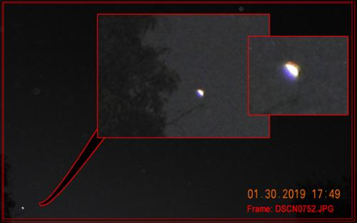 "This triangular craft was spotted on photographed on Jan. 30, 2019, and moved in split-second bursts across the sky. It is just one of a variety of craft that have been seen after the initial ""McDiner UFO Event"" of 2017 in Monrovia, CA.  [(c)2017MarianRudnyk. All Rights Reserved.]"