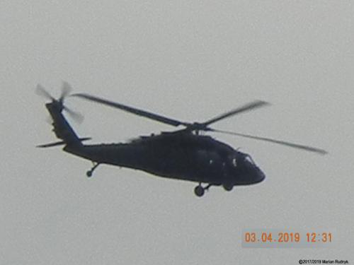 On March 4, 2019 this military Blackhawk helicopter (one of many that appear here), circled my house and at times dropped so low I could actually see the pilot's faces! [(c)2019MarianRudnyk. All Rights Reserved.]