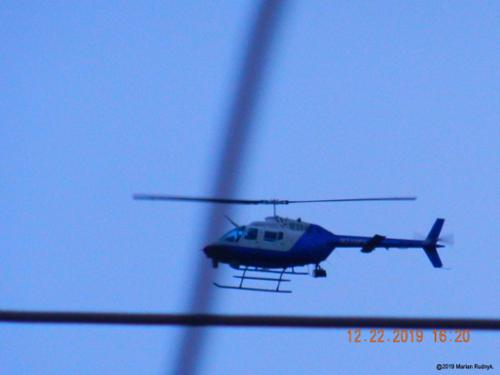 A Pasadena PD helicopter mercilessly circles my home on Dec.22, 2019 in an attempt to spook me just prior to my interview with George Knapp on Coast To Coast. [(c)2019MarianRudnyk. All Rights Reserved.]