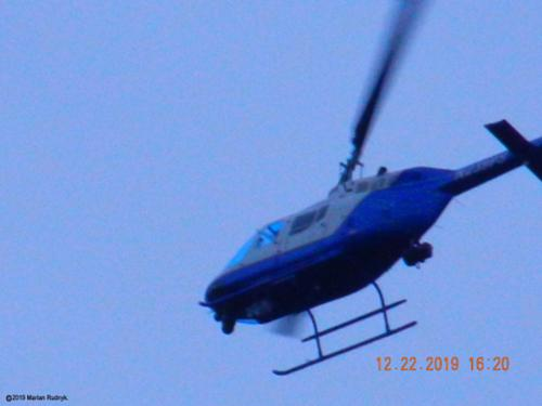 Here the helicopter tightens his circle & looks at me as he turns. This is actually just one of many-many such helicopter-harassments that I have endured over the last 3 years since my Jan. 2017 McDiner UFO Event. [(c)2019MarianRudnyk. All Rights Reserved.]
