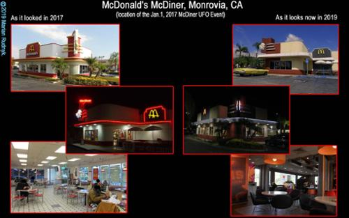 Views of the McDonald's McDiner – site of the 2017 McDiner UFO Event.  It is seen  here as it was in 2017, and now as it appears in present day. [(c)2019MarianRudnyk. All Rights Reserved.]
